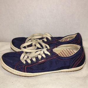 Taos women's size 8.5 ,navy with maroon stitch